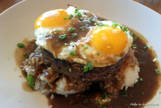 Loco moco, a staple of the Hawaiian diet, consists of hamburger patty over rice, covered in gravy and an egg