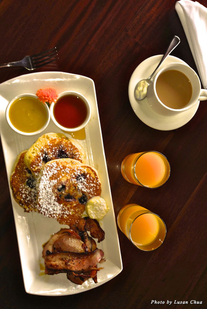 Blueberry pancakes with mango and coconut coulis and other sweet indulgences