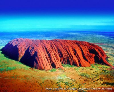 Aerial view of Uluru, symbol of the Aboriginal Australia