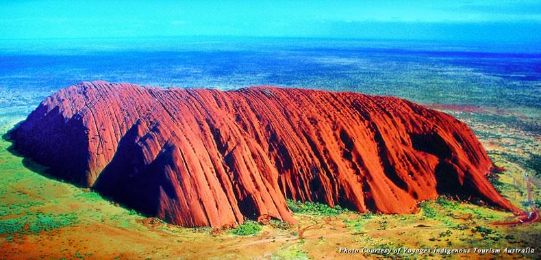 Aerial view of Uluru, symbol of the Aboriginal Australia