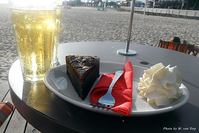 Afternoon treat of cider and cake at St. Kilda Beach in Melbourne, Australia
