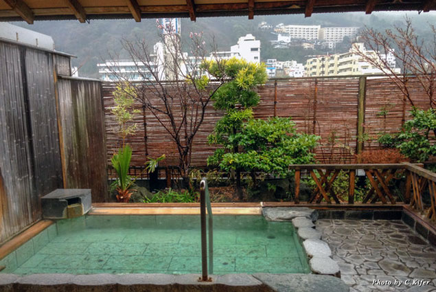 An onsen, also known as a hot spring bath