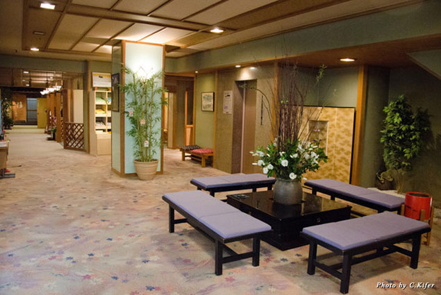 Traditional décor of the ryokan lobby