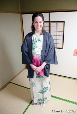 Visiting a ryokan offers a chance to wear a yukata, a colorful, kimono-like robe