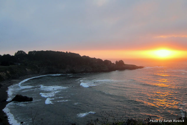 Sunset over Smuggler's Cove in Mendocino, California