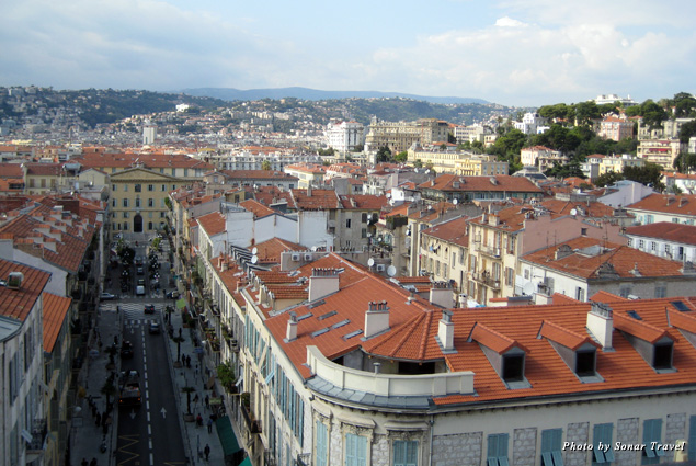 A view of the city of Nice below the Museum of Modern and Contemporary Art
