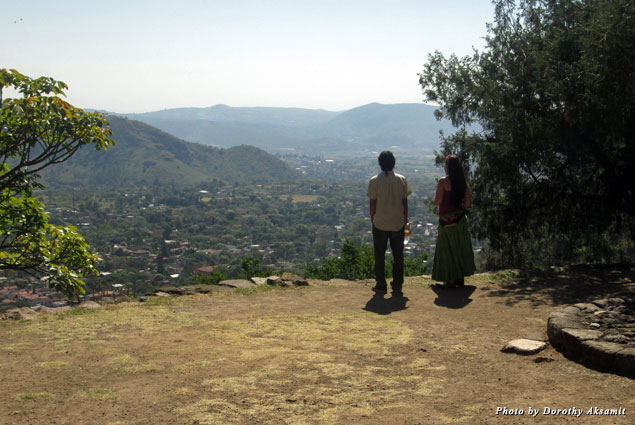 The view from the ceremonial site sweeps over the valley of Malinalco, surrounded on three sides by jagged mountains