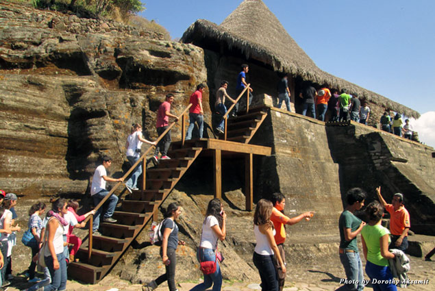 The rock pyramid in front of the ceremonial center can be climbed by the brave