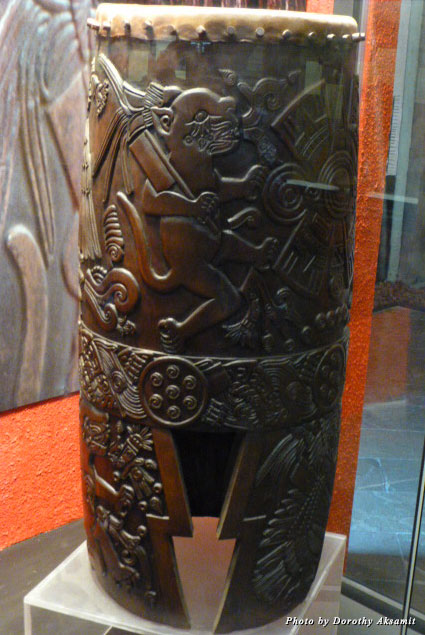 A beautifully carved replica of an Aztec ceremonial drum represents the highest form of Aztec carving