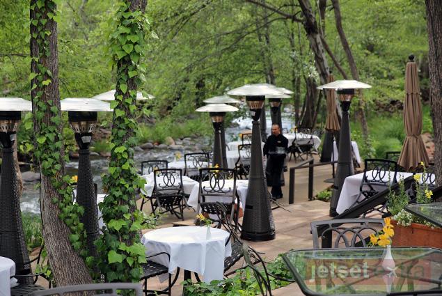 Dining tables line Oak Creek
