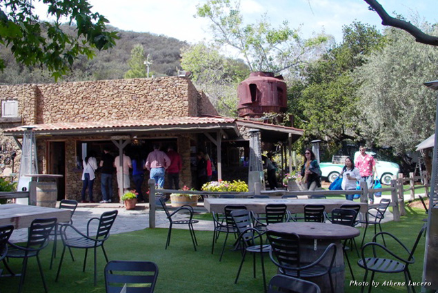Local rocks were used to construct the bar and other buildings at Malibu Wines' outdoor tasting room