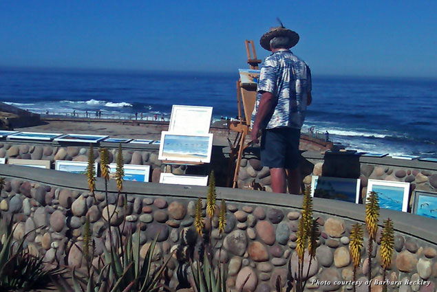 A plein air painter captures the beauty of La Jolla Cove on the Southern California coast