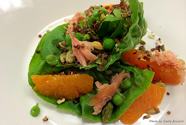 Smoked trout with quinoa salad and cara cara oranges
