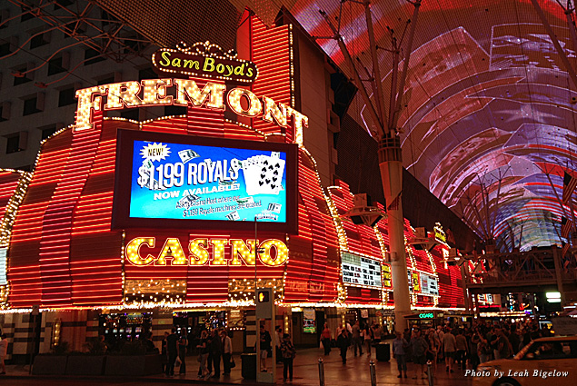The neon lights of the Fremont Street Experience