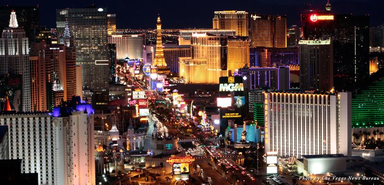 A nighttime view of the Las Vegas Strip