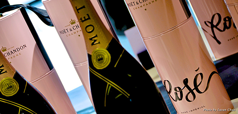 Blush pink bottles of Moet & Chandon Rosé are the perfect way to celebrate the spring