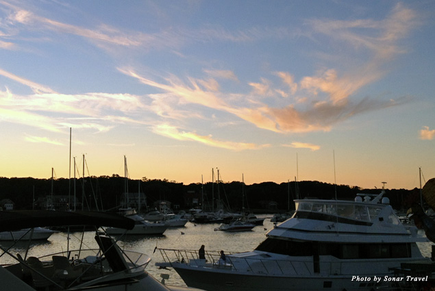 The sun sets over the harbor in Oaks Bluffs on Martha's Vineyard