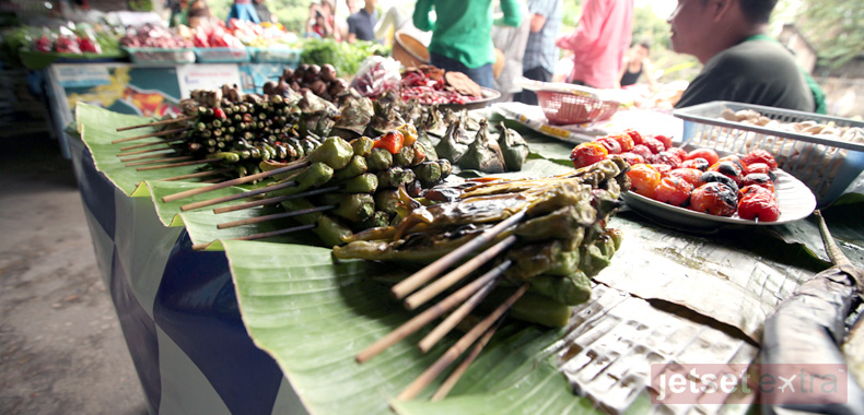 Food on display at a marketplace in Thailand