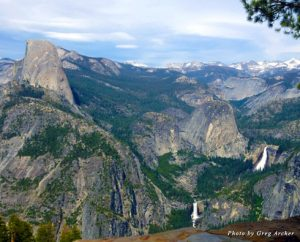 A view of Half Dome and waterfalls from Glacier Point