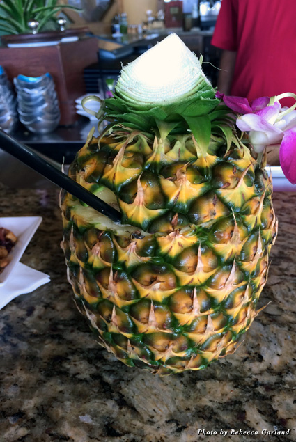Mai Tai served in a pineapple