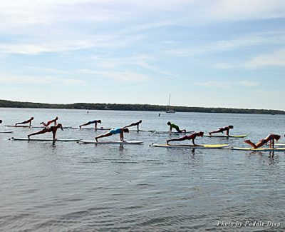 Paddle Diva Stand Up Paddle Yoga class on Three Mile Harbor