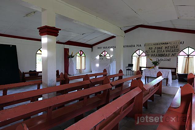 The interior of a village church