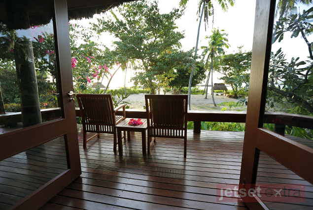 Balcony off a private room at Yasawa Island Resort & Spa, Fiji