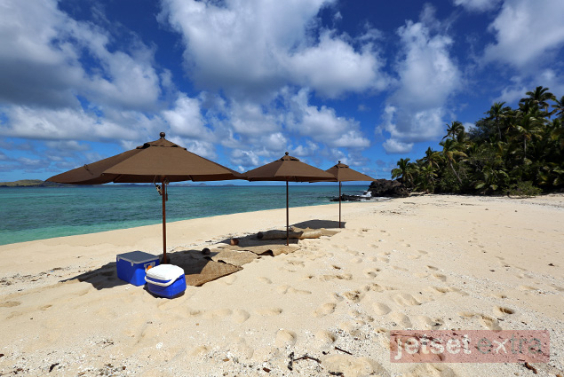 Yawini Island private island picnic set up by Yasawa Island Resort & Spa, Fiji