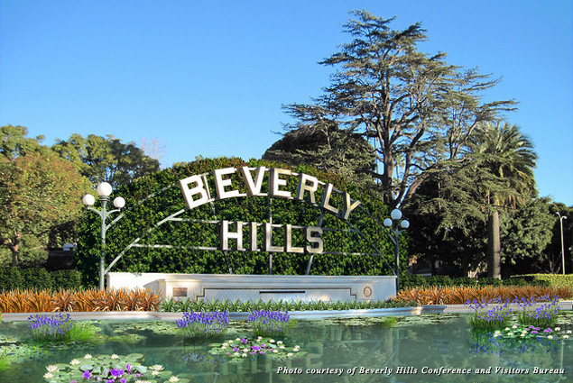 Beverly Hills lily pond and sign rendering