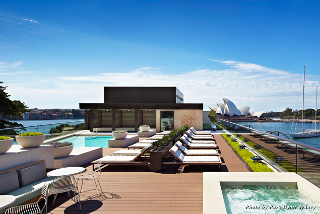 The rooftop pool at the Park Hyatt Sydney