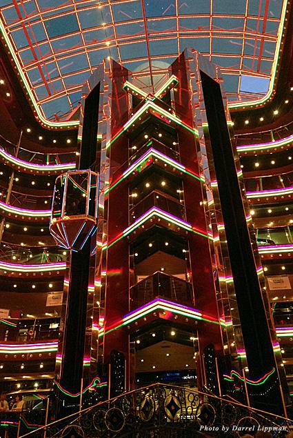 The Grand Atrium aboard the Carnival Inspiration cruise ship