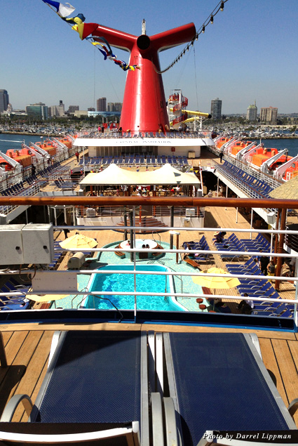 Looking out over the Carnival Inspiration Lido Deck