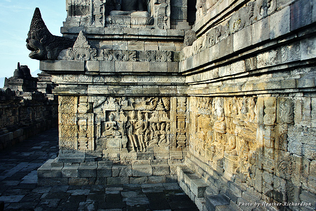 Scenes from holy texts in the lower tiers of Borobudur Temple