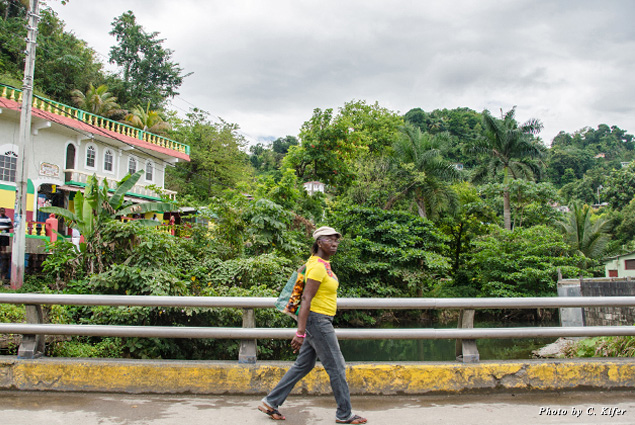 A woman walking in Port Antonio