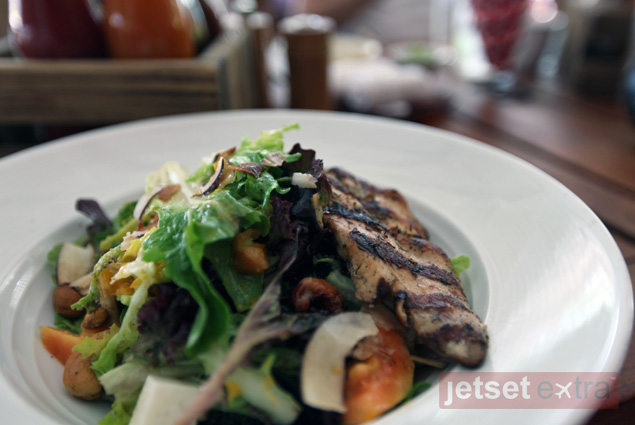 A tropical salad with grilled jerk chicken at Cabana