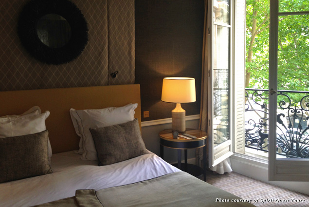A portion of the guest room at the Hotel Recamier