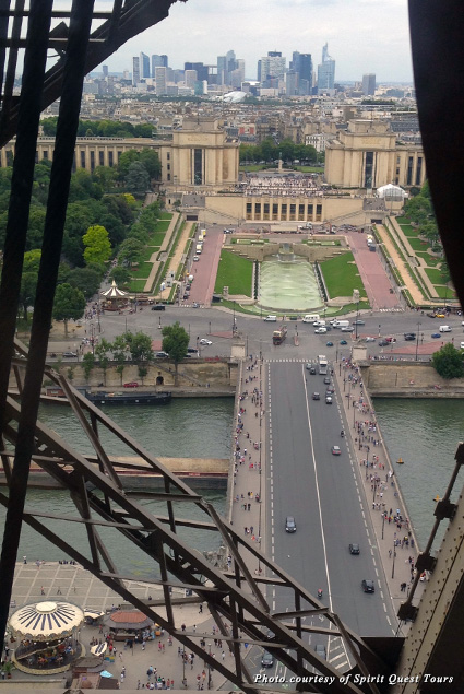 Looking down at the Paris streets from the Eiffel Tower