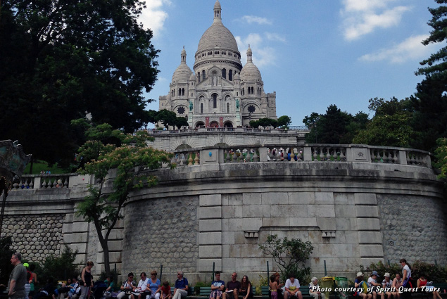 Looking up at Sacré Coeur