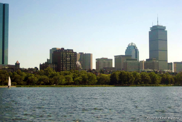 A view of the Boston skyline from the Charles River