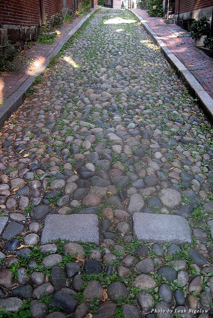 Cobblestones line Acorn Street in Boston's Beacon Hill