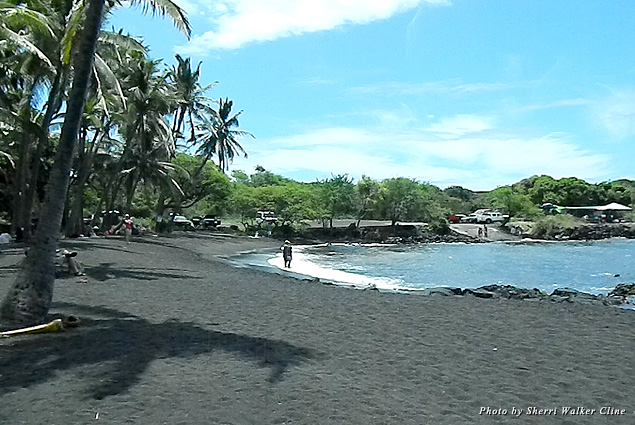 Hawaii's black sand beaches are created from wave action and lava