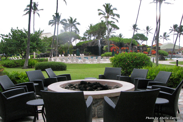 Aqua Kaua'i Beach Resort fire pit gives guests a place for cocktails and casual conversation