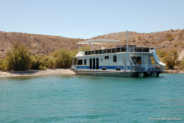 Our houseboat moored in a cove on Lake Mohave