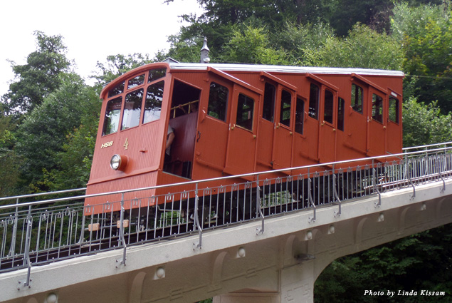 Castle District historical wooden funicular train