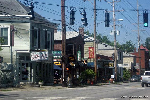 Buildings line a street in Louisville