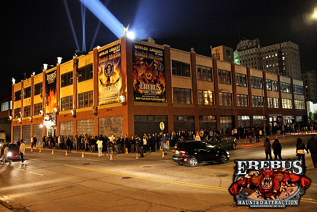 A line wraps around the Erebus building