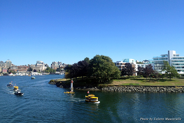 Water taxis and kayakers go to and fro around Victoria's Inner Harbour