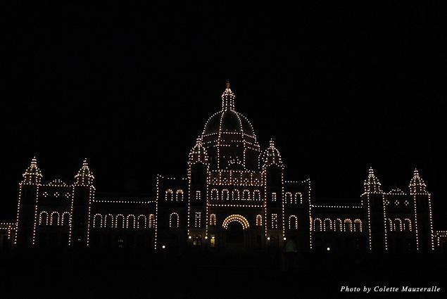 Victoria's Parliament Building lights up the city each night