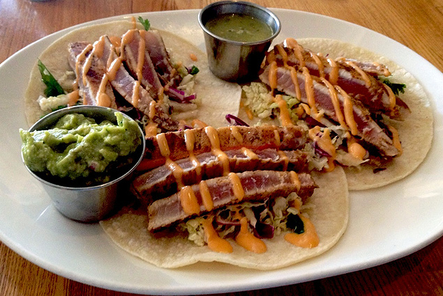 Ahi tuna tacos at Sides Hardware and Shoes