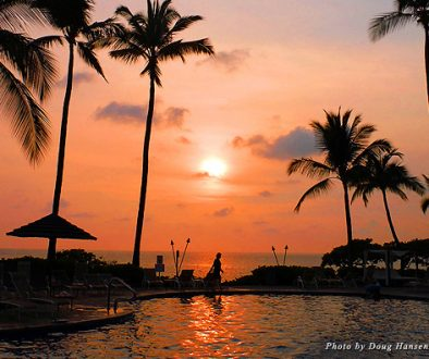 Sunset by the Sheraton Kona pool welcomed us to Hawaii